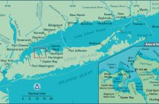 A vector map illustration of of Oyster Bay, New York, On Long island. The map shows the harbors near the towns of Oyster Bay, Cold Spring Harbor, and Huntington, New York.