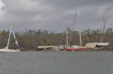 Boats were pulled out of the mangroves, but not the accompanying debris; that's where we came in. Photo by Mike Camarata