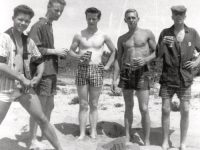 "Larry (far left) and his fellow ""yachting associates"" re-stocked and enjoying a beach on the Cape in 1959. Photo courtesy Larry Wardwell"