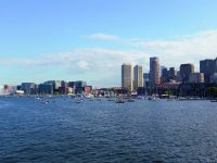 The view of downtown Boston from its inner harbor, which is home to recreational boats of all stripes.