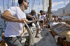 It's all hands on deck aboard Eros, aboard which good old fashioned muscle makes things move.Photo by Martha Blanchfield