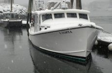 Points East file photo by Jack FarrellThe 42-foot Utopia, which, design-wise, is essentially a big lobster boat, fares much better than the Hurricane in inclement weather.