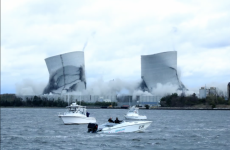 Implosion of the Brayton Point power plant towers, April 27, 2019
