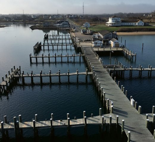 The view of an empty Payne's Dock from the top of Vixen's mast, where I was adjusting a cockeyed Windex.