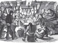 "This is an illustration from the book ""Songs, naval and national"" by Thomas Dibdin, published in London, England in 1841. The caption is ""Saturday Night At Sea,"" and shows a group of sailors amusing themselves while off duty by singing. The illustration itself is by George Cruikshank (d. 1878).  Illustration by George CruikshankAn illustration published in London, England in 1841 that depicts off-duty sailors amusing themselves, beers in hand."