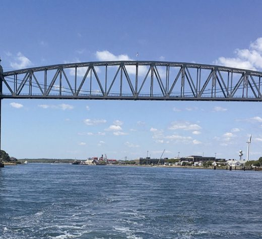 The antique steel railroad bridge (above), and a pretty little harbor in the lee of Wickets Island (below).