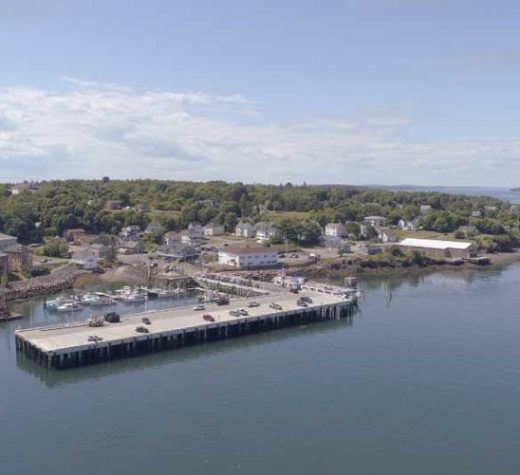 Eastport's rebuilt downtown breakwater. There is also an industrial terminal at South End. Photo by Scott Snell, Blount Small Ship Adventures