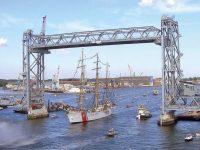 Photo courtesy Walsh ConstructionThe USCGC Eagle, a 295-foot barque used as a training cutter for future CG officers, passes beneath the Memorial Bridge in 2013. The bridge was just high enough.