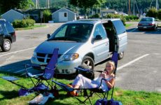 "Photo by Christopher BirchThe author's daughter, Heidi, and dog, Pedro, relax outside their ""vessel."""