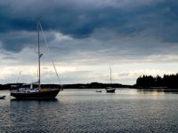 What could be more annoying than waking to unforecasted storm clouds scudding low at Pickering Island in Penobscot Bay? Photo by David Buckman