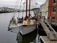 The 81-foot schooner Argia, at Steamboat Wharf near the drawbridge in Mystic, awaits her next charter. Photo by Mike Camarata