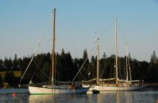 Photo by David BuckmanTwo beautiful boats -- Briar Patch (left) and Appledore -- add drama to Perry Creek on MaineÕs Vinalhaven Island.
