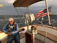 Downwind sailing in the Gulf of Maine with crewman David Niewolski. Photo by Christopher Birch