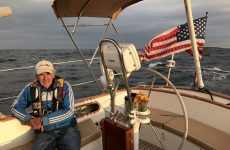 Downwind sailing in the Gulf of Maine with crewman David Niewolski. Photo by Christopher Birch