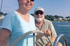 Photo courtesy Shirley CassaraThe author and her husband, Marc, aboard Windigo II, their Sabre 30 Mark III.