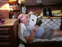 """Photo courtesy Dave RoperThe author in """"hunkered-down"""" mode, reading 1/2 hour of every two."""