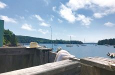 Photo by Christopher BirchBuckÕs Harbor Marina atop the Eggemoggin Reach in Maine. No shower has a better view. Sun streams in directly upon you. The author always brings his hat.