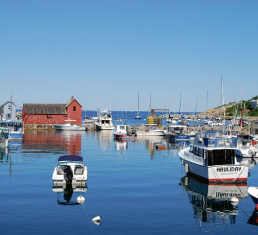 """The shack that launched 1,000 images: Rockport's iconic Motif #1 fish house, and (inset) the view of the harbor there from inside """"the claws."""" Photo by Marilyn Pond Brigham"""