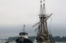 Mayflower II leaving Mystic Harbor