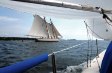 Photo by David BuckmanSailing in company with the likes of the schooner American Eagle always adds drama to a Downeast cruise.