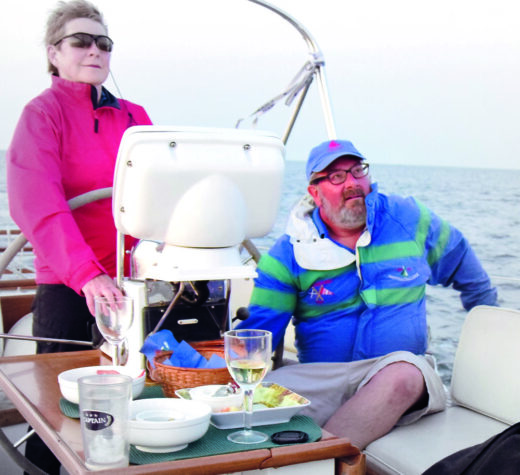 The author and his wife Marty aboard Rocinante, their Little Harbor 46.Photo courtesy Ron Weiss