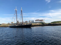 Photo by Jack FarrellThe 122' fishing schooner Adventure at Star Island pier. Working these old vessels was punishing and dangerous.