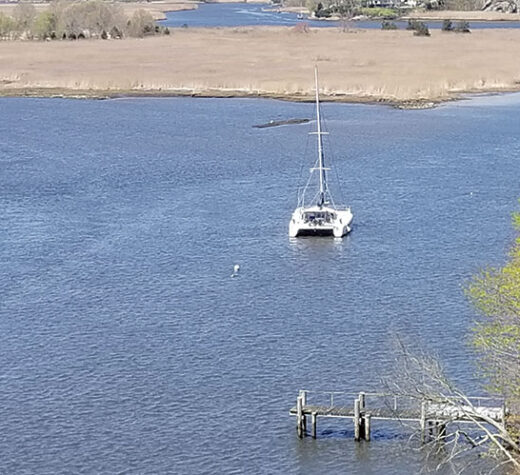Infinite Improbability, the author's home, on her summer mooring at the south end of Calves Island.