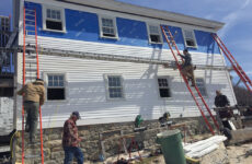 """Photo courtesy Jack FarrellJohnny Kadlik's crew replacing windows, siding and trim on the crew quarters known as """"The Shack."""" The work out at the Isles is relentless."""
