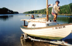 Photo courtesy Dan EdsonDan and his wife Marcia preparing to launch Allons at Robinhood Cove, in Georgetown, Maine, before heading for the Little Sheepscot River.