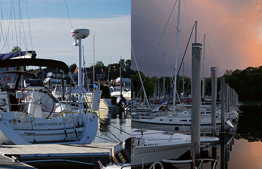 The author's boat, Toujours, tied up at her summer home at Sunset Marina in South Portland, Maine.