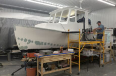 Photo  courtesy Tim PlouffHaving that new heated garage with ample space to lay up fiberglass, paint, and install new machinery might be more luxurious than the typical boat shed, but the work was no less serious, or important.