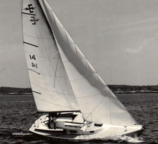 Photo courtesy Dudley DudleyAuthor Tom Dudley's Electra 22 Right On heeled over in a brisk breeze. The boat was used in his first race off Portsmouth, N.H. in a thick fog.
