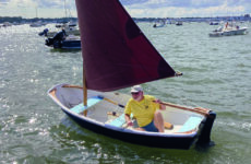 Photo courtesy David RoperDave at the helm of Rosie, his very capable nine-foot dinghy. But are they ready for a transatlantic crossing?