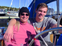 Photo courtesy Pam HumbertSuccess! The author and her son Ryan in Morgana's cockpit after docking.