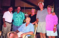 Photo by Carol PiermonteDodge Morgan center, L-R: Gene Piermonte, Gordon Bailey, Debbie Bailey, Homer Shannon, Dee Shannon.