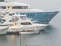 Vintage Lyman among the megayachts at Bar Harbor