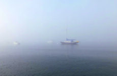 Photo courtesy Richard SchultzThe author's Catalina 42 Little Wing on her home mooring in Pepperell Cove. The fog would persist throughout the journey.